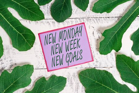 Writing note showing New Monday New Week New Goals. Business concept for showcasing next week resolutions To do list