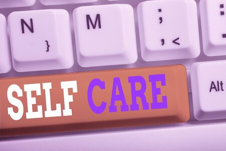 Word writing text Self Care. Business photo showcasing the practice of taking action to improve one s is own health White pc keyboard with empty note paper above white background key copy space