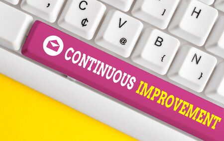Word writing text Continuous Improvement. Business photo showcasing ongoing effort to improve products or processes White pc keyboard with empty note paper above white background key copy space Foto de archivo - 130020466