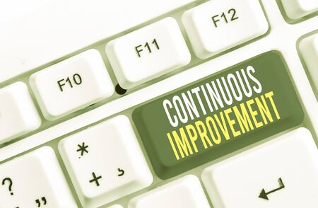 Writing note showing Continuous Improvement. Business concept for ongoing effort to improve products or processes White pc keyboard with note paper above the white background Foto de archivo - 130021147