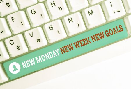 Word writing text New Monday New Week New Goals. Business photo showcasing showcasing next week resolutions To do list White pc keyboard with empty note paper above white background key copy space Stock fotó