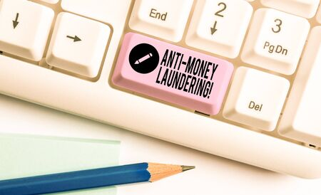 Handwriting text Anti Money Laundering. Conceptual photo regulations stop generating income through illegal actions White pc keyboard with empty note paper above white background key copy space