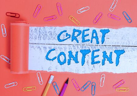 Conceptual hand writing showing Great Content. Concept meaning Satisfaction Motivational Readable Applicable Originality Stock Photo