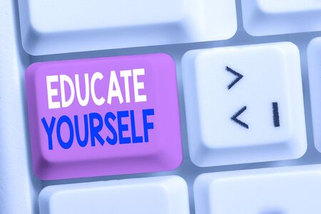Handwriting text writing Educate Yourself. Conceptual photo prepare oneself or someone in a particular area or subject White pc keyboard with empty note paper above white background key copy space