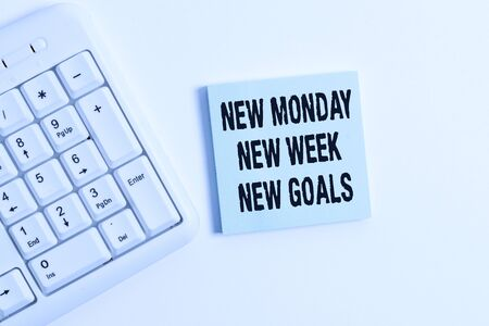 Word writing text New Monday New Week New Goals. Business photo showcasing showcasing next week resolutions To do list White pc keyboard with empty note paper above white background
