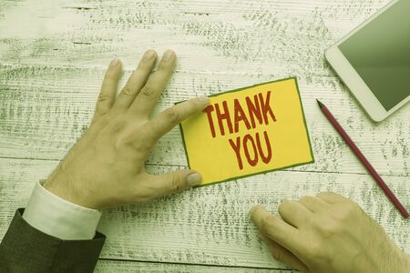 Handwriting text writing Thank You. Conceptual photo a polite expression used when acknowledging a gift or service