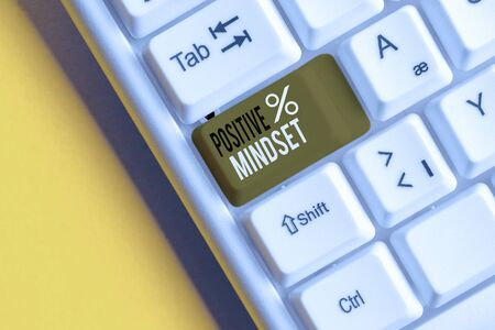 Text sign showing Positive Mindset. Business photo showcasing mental attitude in wich you expect favorable results White pc keyboard with empty note paper above white background key copy space