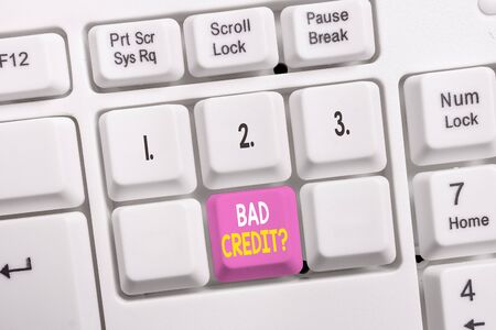 Conceptual hand writing showing Bad Creditquestion. Concept meaning inabilityof a demonstrating to repay a debt on time and in full White pc keyboard with note paper above the white background