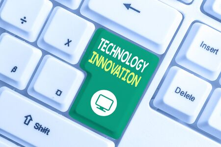 Text sign showing Technology Innovation. Business photo text significant technological changes of products White pc keyboard with empty note paper above white background key copy space
