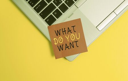 Writing note showing What Do You Want. Business concept for used for offering something to someone or asking their need Metallic trendy laptop blank sticky note empty text colored background