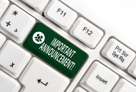 Conceptual hand writing showing Important Announcement. Concept meaning spoken statement that tells showing about something White pc keyboard with note paper above the white background Stock Photo - 129854133
