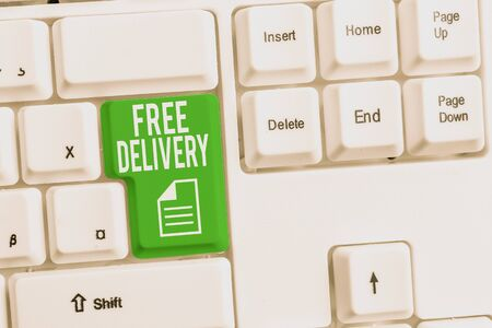 Conceptual hand writing showing Free Delivery. Concept meaning Shipping Package Cargo Courier Distribution Center Fragile White pc keyboard with note paper above the white background