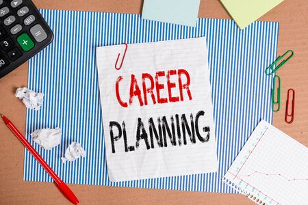 Text sign showing Career Planning. Business photo showcasing Strategically plan your career goals and work success Striped paperboard notebook cardboard office study supplies chart paper