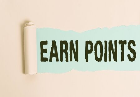 Conceptual hand writing showing Earn Points. Concept meaning getting praise or approval for something you have done Stok Fotoğraf