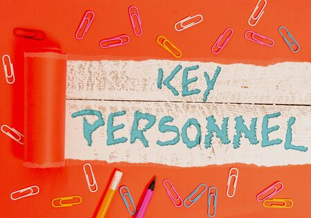 Conceptual hand writing showing Key Personnel. Concept meaning Program Directors Principal Investigator Project Executives