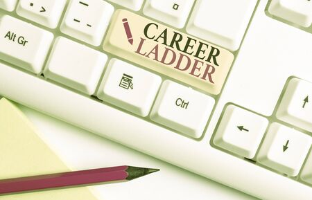 Handwriting text writing Career Ladder. Conceptual photo Job Promotion Professional Progress Upward Mobility Achiever White pc keyboard with empty note paper above white background key copy space