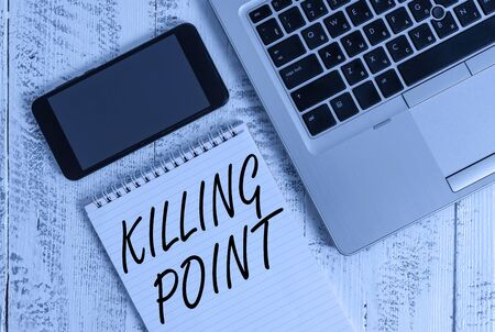 Handwriting text Killing Point. Conceptual photo Phase End Review Stage Gate Project Evaluation No Go Metallic laptop blank ruled notepad smartphone lying old wooden table Stock fotó