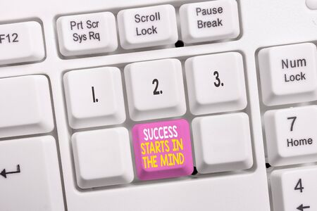 Conceptual hand writing showing Success Starts In The Mind. Concept meaning set your mind to positivity it can go a long way White pc keyboard with note paper above the white background Stok Fotoğraf