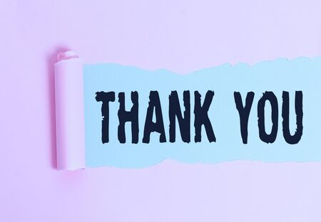 Conceptual hand writing showing Thank You. Concept meaning a polite expression used when acknowledging a gift or service Stok Fotoğraf