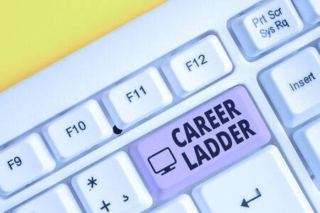 Writing note showing Career Ladder. Business concept for Job Promotion Professional Progress Upward Mobility Achiever White pc keyboard with note paper above the white background