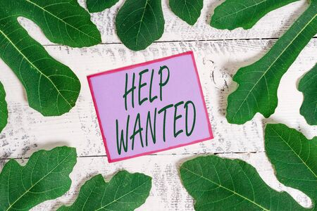 Writing note showing Help Wanted. Business concept for An ad in the paper an employer places to find a new employee 스톡 콘텐츠