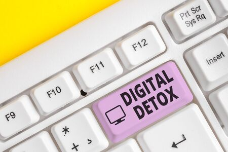 Writing note showing Digital Detox. Business concept for Free of Electronic Devices Disconnect to Reconnect Unplugged White pc keyboard with note paper above the white background 写真素材