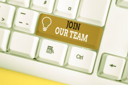 Word writing text Join Our Team. Business photo showcasing inviting someone to join in your local group or company White pc keyboard with empty note paper above white background key copy space 写真素材
