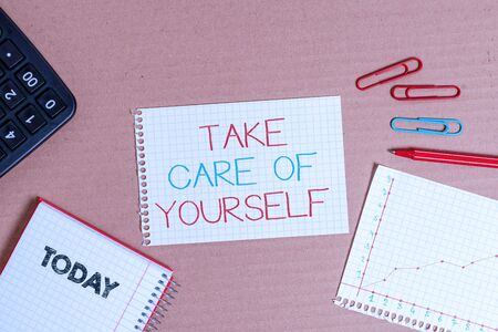 Writing note showing Take Care Of Yourself. Business concept for a polite way of ending a gettogether or conversation Cardboard notebook office study supplies chart paper Stock fotó