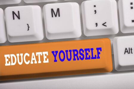 Word writing text Educate Yourself. Business photo showcasing prepare oneself or someone in a particular area or subject White pc keyboard with empty note paper above white background key copy space