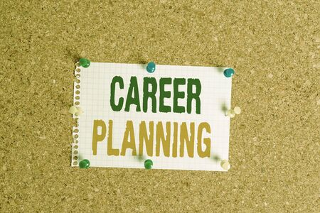 Writing note showing Career Planning. Business concept for Strategically plan your career goals and work success Corkboard size paper thumbtack sheet billboard notice board