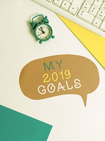 Handwriting text writing My 2019 Goals. Conceptual photo setting up demonstratingal goals or plans for the current year Flat lay with copy space on bubble paper clock and paper clips