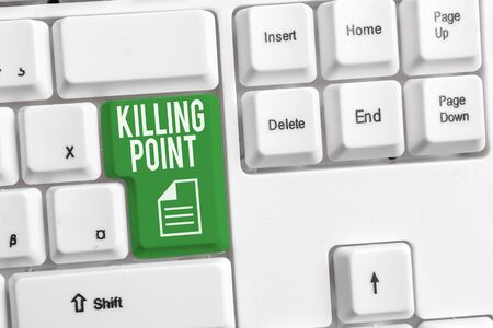 Conceptual hand writing showing Killing Point. Concept meaning Phase End Review Stage Gate Project Evaluation No Go White pc keyboard with note paper above the white background