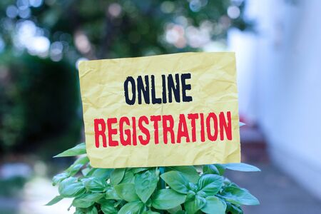 Word writing text Online Registration. Business photo showcasing System for subscribing or registering via the Internet Plain empty paper attached to a stick and placed in the green leafy plants