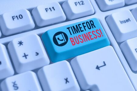 Writing note showing Time For Business. Business concept for fulfil transactions within period promised to client White pc keyboard with note paper above the white background