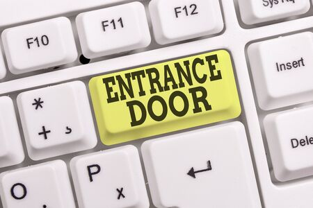 Conceptual hand writing showing Entrance Door. Concept meaning Way in Doorway Gate Entry Incoming Ingress Passage Portal White pc keyboard with note paper above the white background