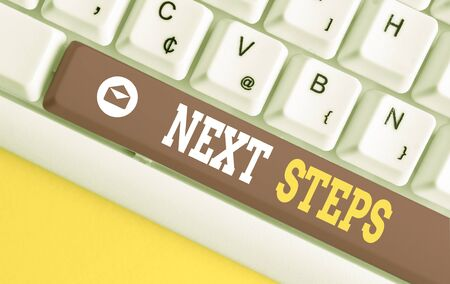 Word writing text Next Steps. Business photo showcasing something you do or plan after you ve finished something else White pc keyboard with empty note paper above white background key copy space Foto de archivo