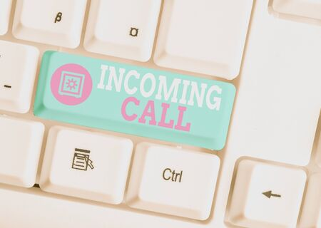 Writing note showing Incoming Call. Business concept for Inbound Received Caller ID Telephone Voicemail Vidcall White pc keyboard with note paper above the white background Stock fotó