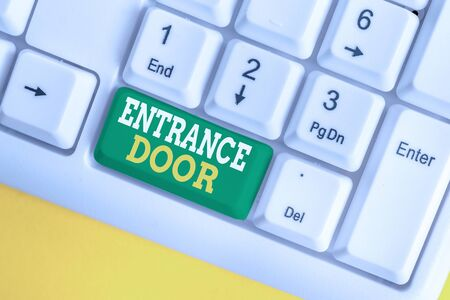 Handwriting text Entrance Door. Conceptual photo Way in Doorway Gate Entry Incoming Ingress Passage Portal White pc keyboard with empty note paper above white background key copy space
