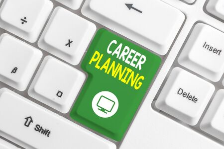 Text sign showing Career Planning. Business photo text Strategically plan your career goals and work success White pc keyboard with empty note paper above white background key copy space