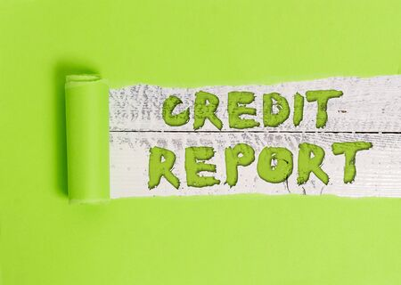 Word writing text Credit Report. Business photo showcasing Borrowing Rap Sheet Bill and Dues Payment Score Debt History 写真素材