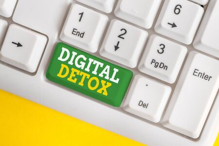 Handwriting text Digital Detox. Conceptual photo Free of Electronic Devices Disconnect to Reconnect Unplugged White pc keyboard with empty note paper above white background key copy space