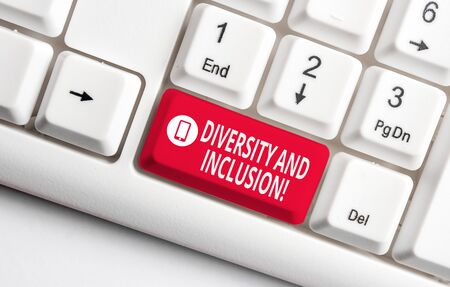 Text sign showing Diversity And Inclusion. Business photo text range huanalysis difference includes race ethnicity gender White pc keyboard with empty note paper above white background key copy space