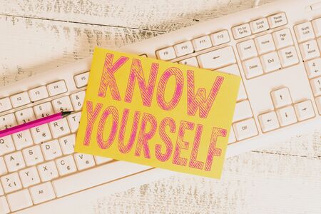 Text sign showing Know Yourself. Business photo showcasing Find You Understanding Strength and Weaknesses Identity White keyboard office supplies empty rectangle shaped paper reminder wood Stock Photo