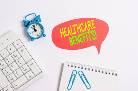 Word writing text Healthcare Benefits. Business photo showcasing monthly fair market valueprovided to Employee dependents Blank paper with copy space on the table with clock and pc keyboard 写真素材 - 129852935