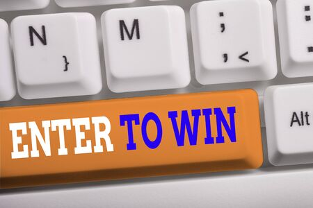 Word writing text Enter To Win. Business photo showcasing exchanging something value for prize or chance of winning White pc keyboard with empty note paper above white background key copy space