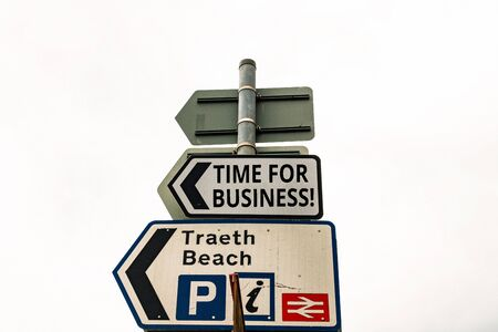 Writing note showing Time For Business. Business concept for fulfil transactions within period promised to client Business concept with empty copy space on the road sign