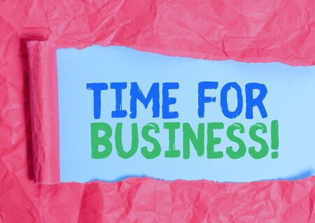 Writing note showing Time For Business. Business concept for fulfil transactions within period promised to client 写真素材
