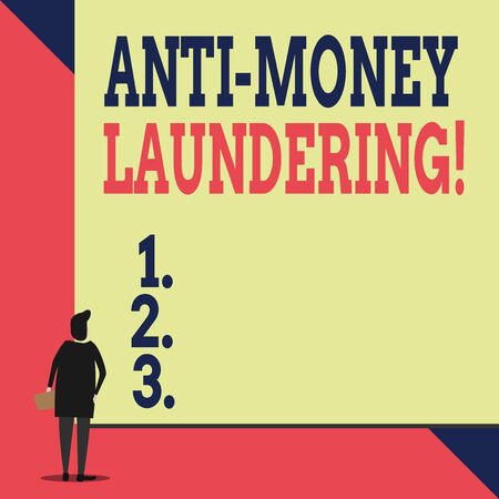 Handwriting text Anti Money Laundering. Conceptual photo regulations stop generating income through illegal actions Back view young woman watching blank big rectangle. Geometrical background Imagens