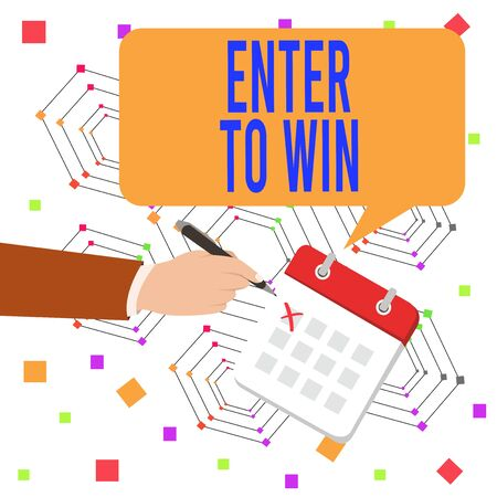 Conceptual hand writing showing Enter To Win. Concept meaning exchanging something value for prize or chance of winning Formal Suit Crosses Off One Day Calendar Red Ink Ballpoint Pen