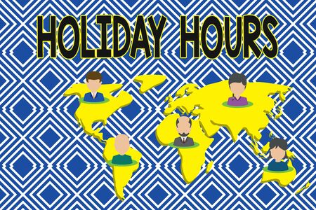 Text sign showing Holiday Hours. Business photo showcasing employee receives twice their normal pay for all hours Connection multiethnic persons all over world. Global business earth map Reklamní fotografie